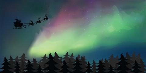 Background of Northern Lights for Christmas