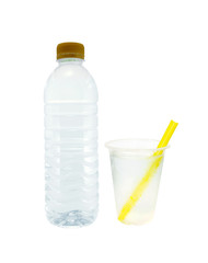 bottle with water and plastic cups isolated on white
