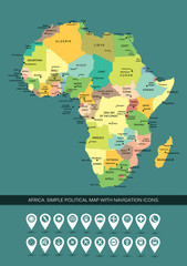 Africa highly detailed and editable simple political map