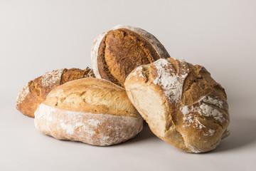 A still life of artisan bread