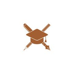Icon pencil and a pen under graduation cap