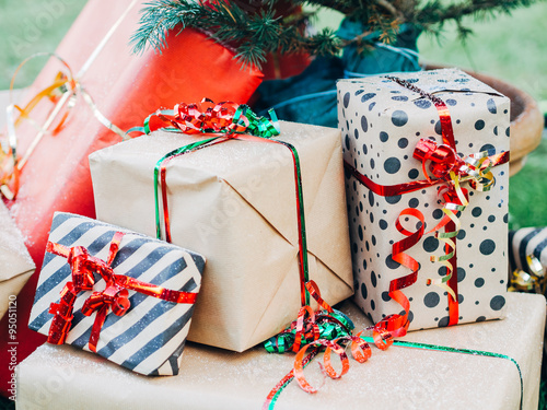 Christmas Gift Packages.Christmas Day Christmas Gift Packages With Ribbons Of