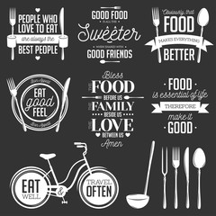 Set of vintage food related typographic quotes. Vector illustration