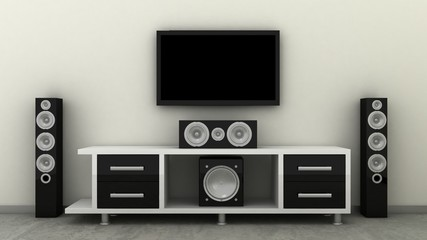 Empty LED TV on television shelf with home theater, cynema sound speker system in modern, classic interior background with white decorative paint wall and concrete floor. Copy space image. 3d render