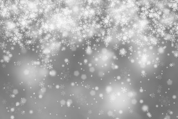Modern blurry silver abstract snowflake Christmas illustration background. Beautiful Christmas or New year Holiday snowfall copy space background.