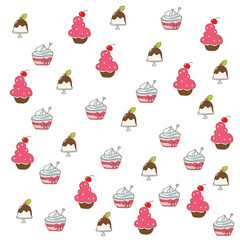 colorful background with cake illustration on a white background