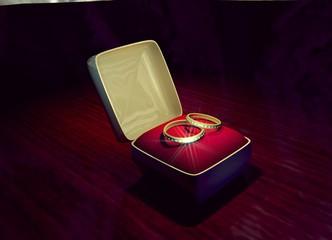 коробочка с обручальными кольцами, выполненная в 3D редакторе.