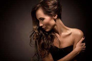 Portrait of fashion model in photo studio
