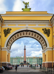 Winter Palace view through Senate Arch, St Petersburg, Russia