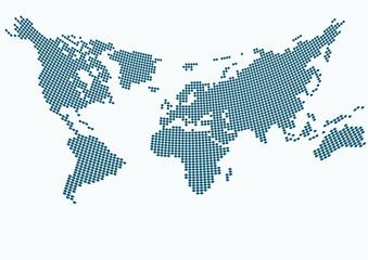 Büyük noktalı Dünya haritası (İçbükey)