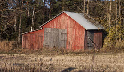 Old red barn on countryside