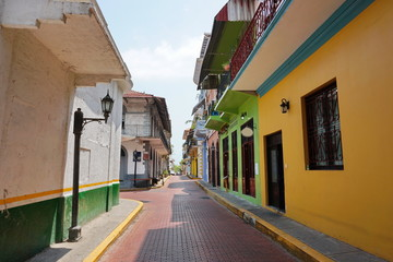 Narrow paved street of Casco Viejo Panama City