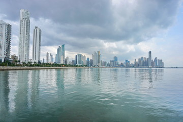Pacific ocean coastline with skyscrapers Panama