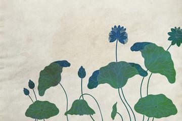 和風背景蓮の花