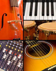 Musical music collage with guitar, cello, organ, conga drums and sound board.