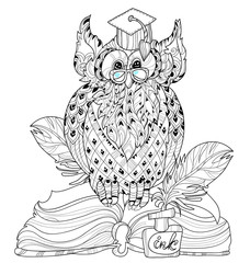 Old Owl  on books- hand drawn doodle vector on white background.Isolated illustration zentangle ready for coloring book.