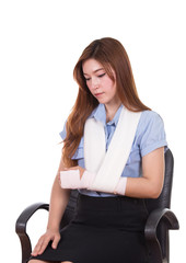 woman with an injured arm wrapped in an Elastic Bandage