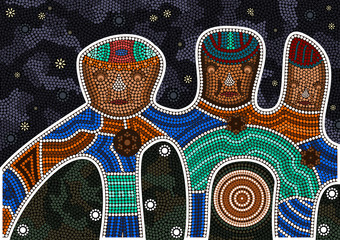 An illustration based on aboriginal style of dot painting depicting darkness and friendship