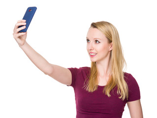 Woman take the selfie by mobile phone