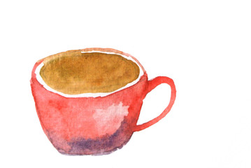 Red cup of coffee, watercolor painting