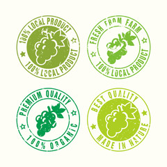 Set of Vector Natural Farm Product stamp
