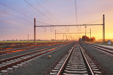 Railroad at sunset Wall mural
