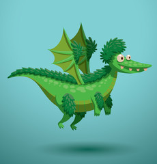 Vector Funny flying dragon, green. Cartoon image of a funny green flying dragon on a turquoise background.