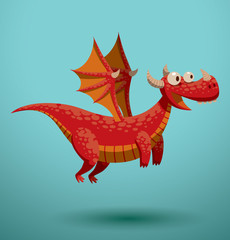 Vector Funny flying dragon, red. Cartoon image of a funny red flying dragon on a turquoise background.