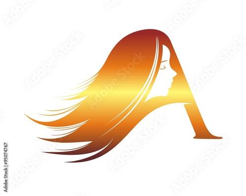 Spa wellness logo  gold letter A beauty spa wellness logo