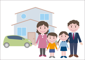 family illustration with house and car, vector