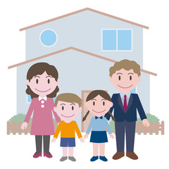 family in front of their house, vector illustration