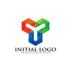 Modern Initial Y Box Pixel Logo Icon