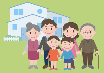 three generation family, vector illustration