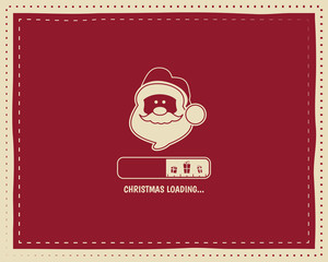 Christmas loading round vintage card design with santa and bar. Nice retro palette. Red color. Can be use for flyer, banner, poster, new year background. Vector illustration
