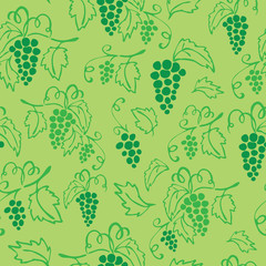 Vector seamless green grapes pattern