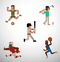 Vector flat image of of five sportsmens: football player, golf player, baseball player, American football player and basketball player with different sports equipment on a light background.