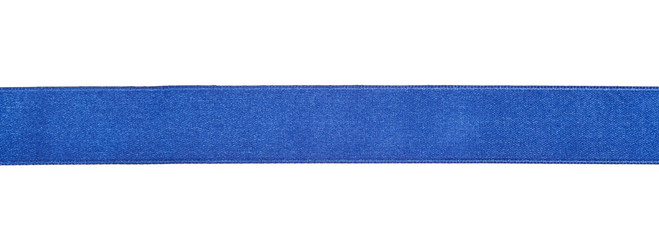 wide blue satin ribbon isolated on white