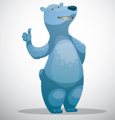 Vector Polar bear endorses. Cartoon image of a funny white polar bear with a raised thumb on a white snowy background.