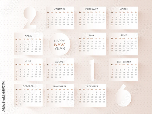 stylish yearly 2016 calendar design stock image and royalty free