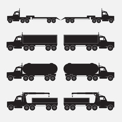 Set of truck trailer black icons. Vector illustration.