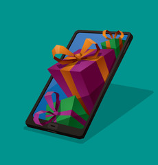 Vector Gifts from smartphone. Cartoon image of black smartphone with blue screen and get out of it colored gifts tied with colored ribbons on a turquoise background.