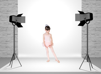 Little girl in photo studio