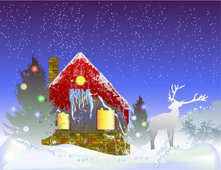 Photo sur Plexiglas Christmas winter landscape with house, reindeer and silhouettes of trees
