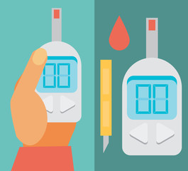 Blood Glucose Test. Diabetes Flat icon set. Hand holding Glucose