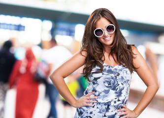 pretty woman wearing sunglasses