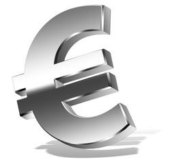 Euro Symbol Chrom Look mit 3D Schlagschatten