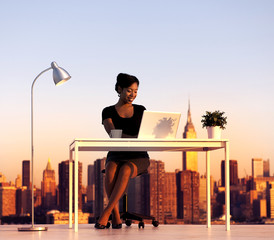 Businesswoman Working Outdoors New York Concept