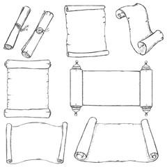 Vectror Set of Sketch Scrolls