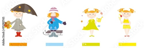 Baby girl and four seasons / labels for seasons name