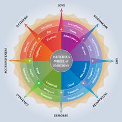 Roue des Emotions de Plutchik - Diagramme en Anglais - Outil Psychologie et Coaching